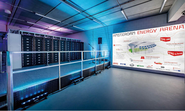 암스테르담 혁신 경기장의 재생 배터리를 활용한 에너지 스토리지.